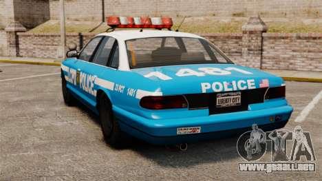 Vapid Police Cruiser ELS para GTA 4 Vista posterior izquierda