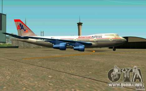 B-747 American Airlines Skin para GTA San Andreas vista posterior izquierda