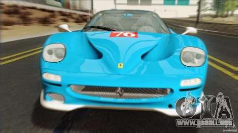 Ferrari F50 v1.0.0 Road Version para GTA San Andreas vista hacia atrás