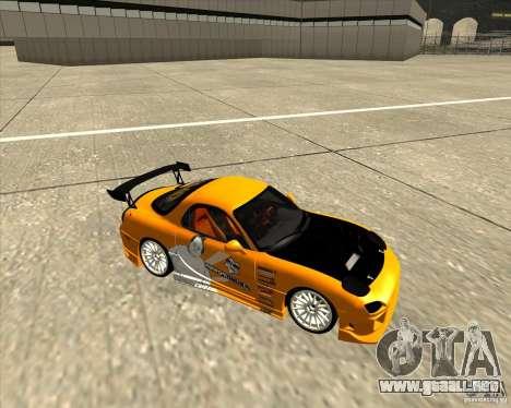 Mazda RX-7 sumopoDRIFT para GTA San Andreas vista hacia atrás
