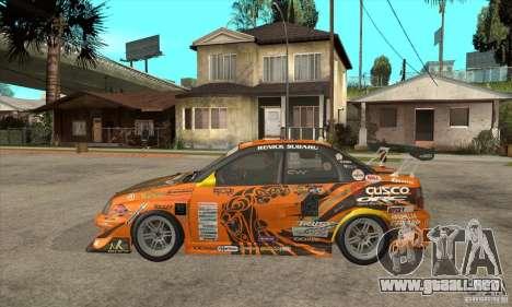 Subaru Impreza D1 WRX Yukes Team Orange para GTA San Andreas left