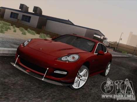 Porsche Panamera Turbo 2010 para GTA San Andreas vista hacia atrás