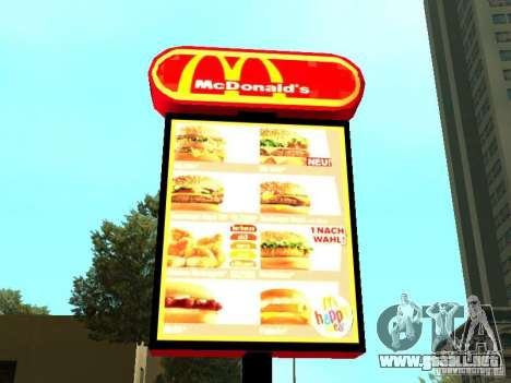 Mc Donalds para GTA San Andreas twelth pantalla