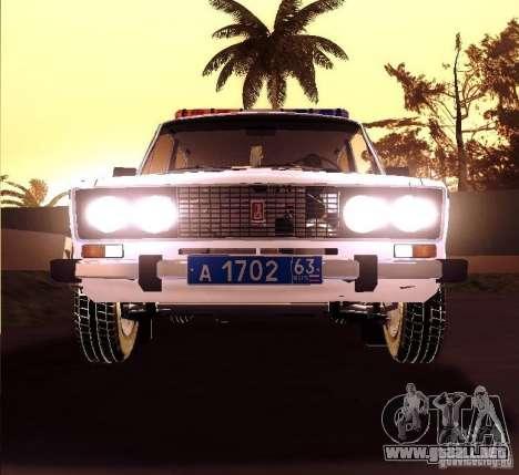 2106 VAZ policía v 2.0 para GTA San Andreas vista hacia atrás