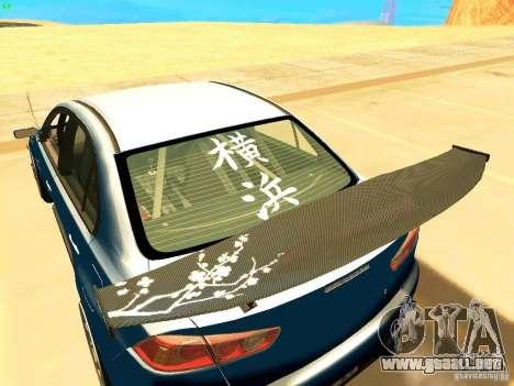 Mitsubishi Lancer Evolution X Time Attack para GTA San Andreas vista posterior izquierda