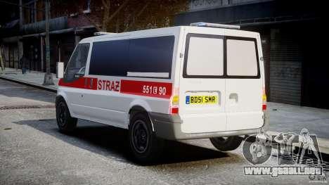 Ford Transit Polish Firetruck [ELS] para GTA 4 Vista posterior izquierda