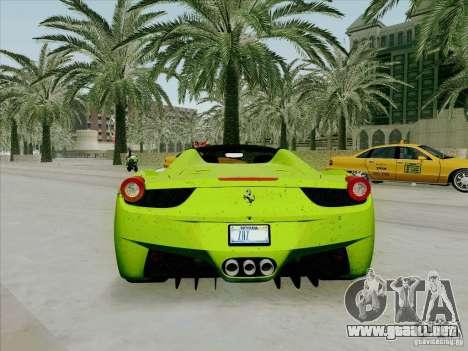 Ferrari 458 Spider para la visión correcta GTA San Andreas