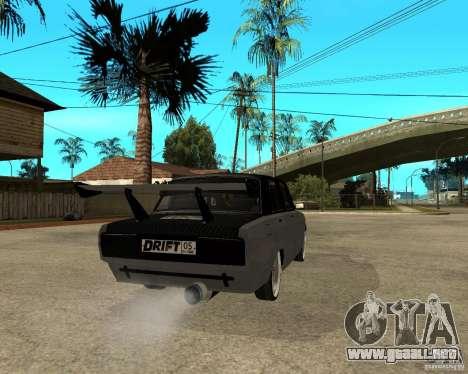 ВАЗ 2107 deriva para GTA San Andreas vista posterior izquierda