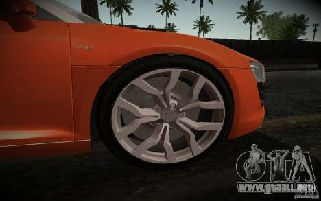 Audi R8 V10 Spyder 5.2. FSI para GTA San Andreas vista hacia atrás