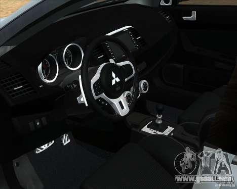 Mitsubishi Lancer Evolution X PPP policía para la visión correcta GTA San Andreas