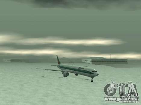 Boeing 767-300 Alitalia para GTA San Andreas vista posterior izquierda