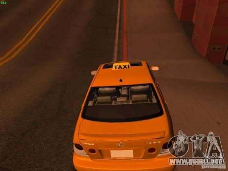 Lexus IS300 Taxi para GTA San Andreas vista posterior izquierda