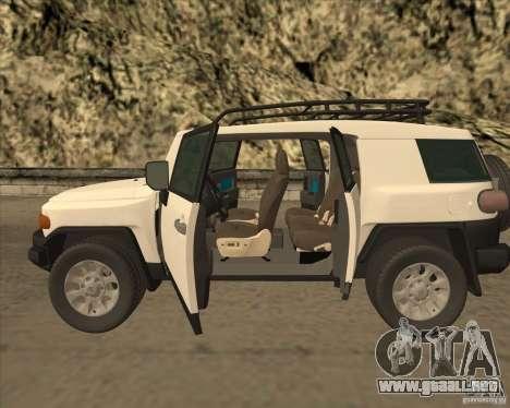 Toyota FJ Cruiser para visión interna GTA San Andreas