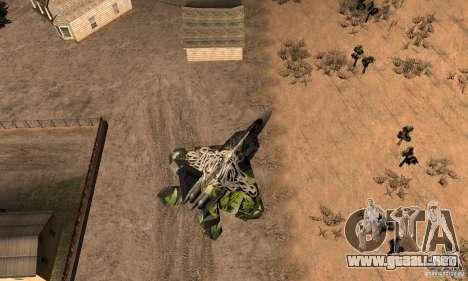 F-22 Raptor Graffity Skin 2 para la visión correcta GTA San Andreas