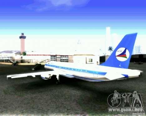 Airbus A-320 Azerbaijan Airlines para GTA San Andreas vista hacia atrás