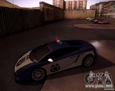 Lamborghini Gallardo LP560-4 Undercover Police para GTA San Andreas left