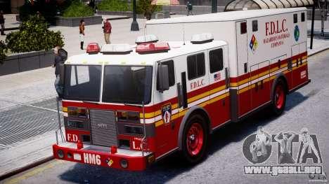 LCFD Hazmat Truck v1.3 para GTA 4 vista hacia atrás