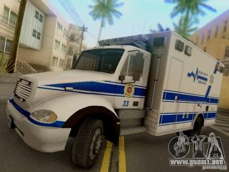 Freightliner Bone County Police Fire Medical para GTA San Andreas vista posterior izquierda