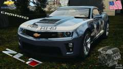 Chevrolet Camaro ZL1 2012 v1.0 Smoke Stripe para GTA 4