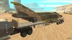 Flatbed trailer with dismantled F-4E Phantom