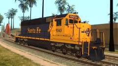 Locomotora SD 40 Santa Fe azul/amarillo