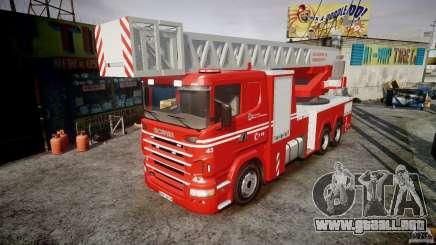 Scania Fire Ladder v1.1 Emerglights red [ELS] para GTA 4