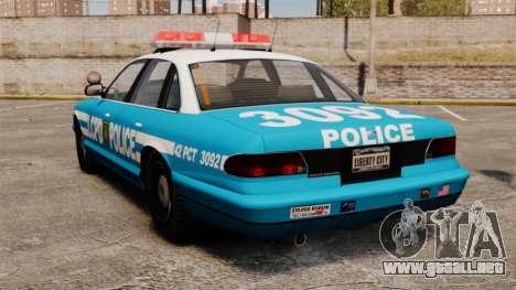 LCPD Police Cruiser para GTA 4 Vista posterior izquierda