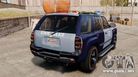 Chevrolet Trailblazer 2002 Massachusetts Police para GTA 4 Vista posterior izquierda