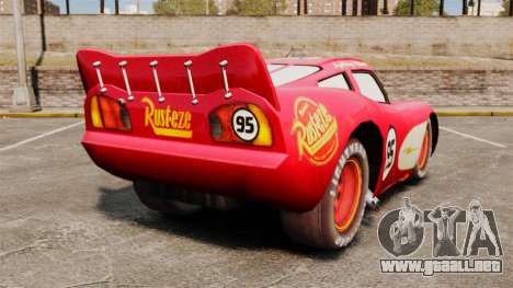 Rayo McQueen v1.2 para GTA 4 Vista posterior izquierda