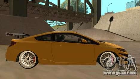 Honda Civic SI 2012 para GTA San Andreas vista posterior izquierda