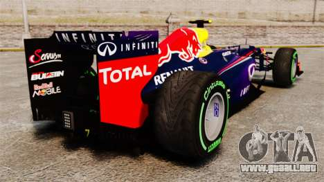 Coche, Red Bull RB9 v3 para GTA 4 Vista posterior izquierda