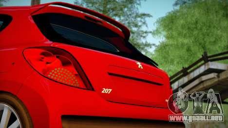 Peugeot 207 para GTA San Andreas vista posterior izquierda