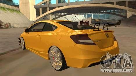 Honda Civic SI 2012 para GTA San Andreas vista hacia atrás