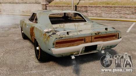 Dodge cargador RT 1969 oxidado v1.1 para GTA 4 Vista posterior izquierda