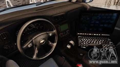 Chevrolet Trailblazer 2002 Massachusetts Police para GTA 4 vista hacia atrás