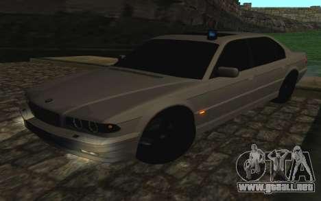 BMW 750iL E38 con luces intermitentes para visión interna GTA San Andreas