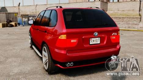 BMW X5 4.8iS v3 para GTA 4 Vista posterior izquierda