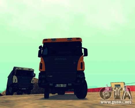 Scania P420 8X4 Dump Truck para GTA San Andreas vista hacia atrás