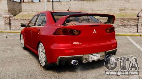Mitsubishi Lancer Evolution X para GTA 4 Vista posterior izquierda