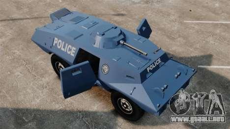 S.W.A.T. Police Van para GTA 4 vista hacia atrás