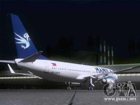 Boeing 737-800 Spirit of Manila Airlines para la visión correcta GTA San Andreas