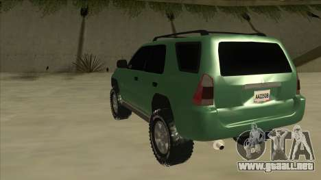 Toyota 4Runner 2009 v2 para GTA San Andreas vista hacia atrás