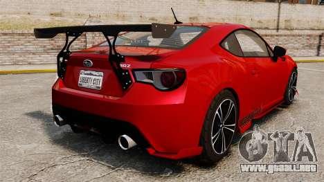 Subaru BRZ Rocket Bunny Aero Kit Hoonigan para GTA 4 Vista posterior izquierda