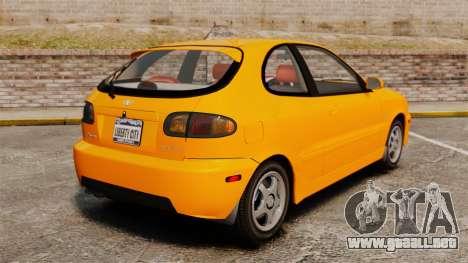 Daewoo Lanos Sport US 2001 para GTA 4 Vista posterior izquierda