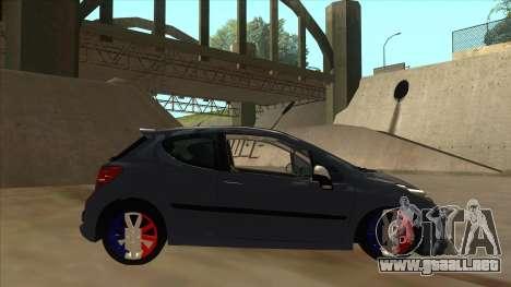 Peugeot 207 RC para GTA San Andreas vista posterior izquierda