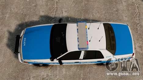 Ford Crown Victoria Police Massachusetts ELS para GTA 4 visión correcta