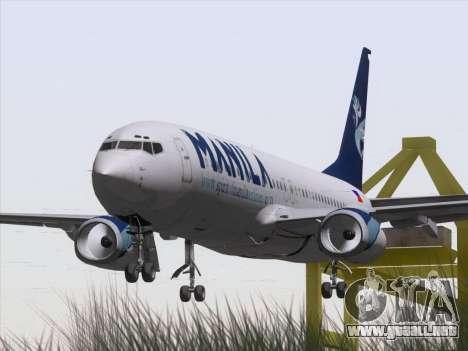 Boeing 737-800 Spirit of Manila Airlines para GTA San Andreas vista hacia atrás