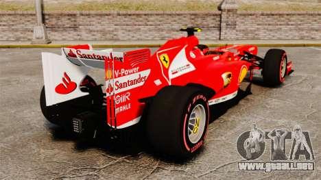 Ferrari F138 2013 v6 para GTA 4 Vista posterior izquierda