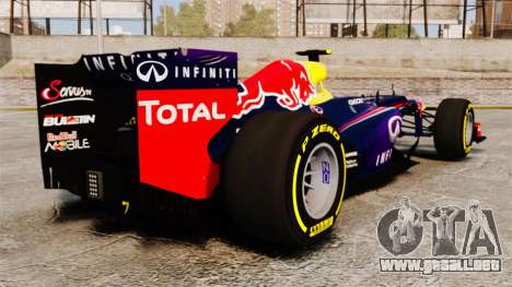 Coche, Red Bull RB9 v5 para GTA 4 Vista posterior izquierda