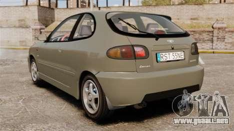 Daewoo Lanos Sport PL 2000 para GTA 4 Vista posterior izquierda
